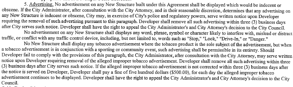 Part of the initiative that indicates the City's strict control over advertising content.