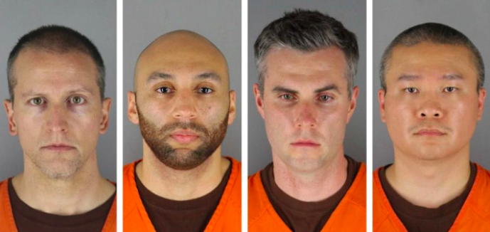 rom left, former Minneapolis Police Officers Derek Chauvin, J. Alexander Kueng, Thomas Lane and Tou Thao, all of whom have been charged in the death of George Floyd.