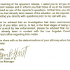 HMG-CN OBTAINS LETTER: Central Basin Admits to Leak of Confidential Documents to Los Angeles Times