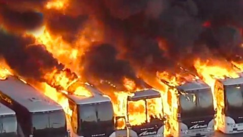 Massive fire at Compton industrial complex rips through structures, buses