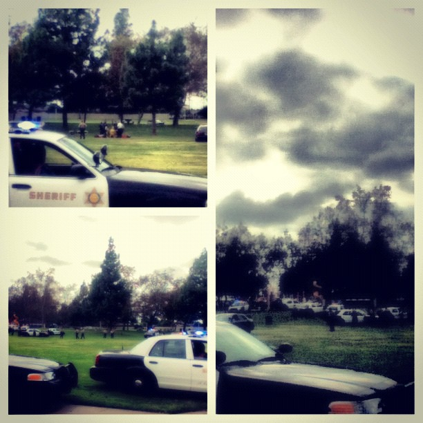 These photos were sent to Los Cerritos Community Newspaper via Twitter from a reader that shows several law enforcement officials at Hermosillo Park. 