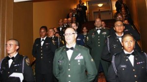 Cadets from the National Youth Guard Challenge Program get ready to enter the Gala at the Historic Biltmore Hotel