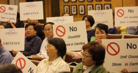 Cerritos residents protest Goodwill during Thursday's city council meeting.