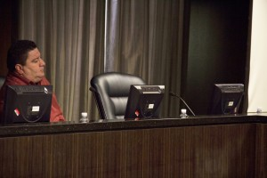 """The seat where  of Central Basin Water Board Director James Roybal was empty at Monday's meeting because he was attending """"Teacher's Jail"""" with the Los Angeles Unified School District.  Pete Parker Photo"""