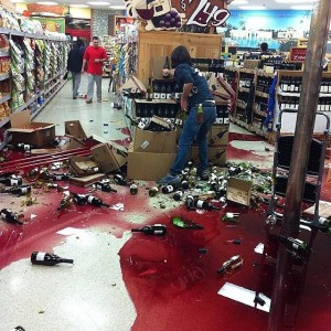 The Trader Joes in Whittier took a direct hit to its wine department. Hundreds of bottles were broken.  Photo via Facebook (Gary Mendez)