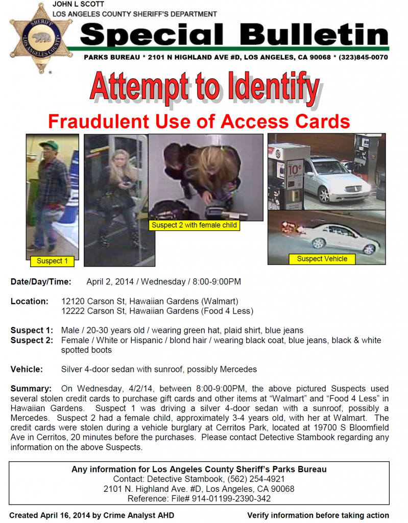 If anyone has information about the two suspects seen above, you are being urged to call Detective Stambook at (562) 254-4921.