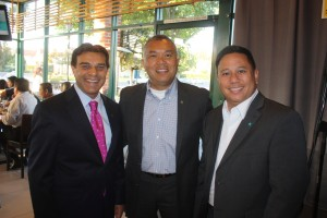 Cerritos Mayor Mark Pulido (left) and Artesia City Councilman Ali S. Taj (right) joined Armin Reyes (center) at a Cerritos College campaign fundraising event this past week.  Randy Economy Photo