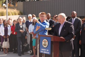: Chairman Don Knabe addresses media members at last week's event that focused on preparing the Faith community for the next disaster.  County of Los Angeles Photo for HMG-CN