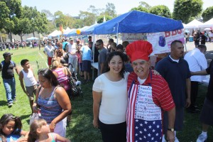 """Assemblymember Cristina Garcia and Norwalk City Councilmember Luigi Vernola were all smiles during this past weekend's community barbeque sponsored by """"U.N.I.T.E."""" at the lawn at the Norwalk Civic Center.  Randy Economy Photo"""