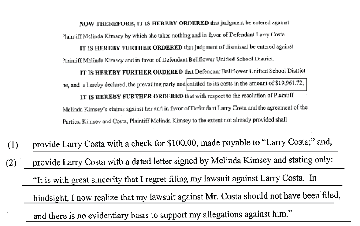 Last page of the Motion to Enforce Settlement in favor of Larry Costa where Kimsey admitted she had no evidence to support her allegations.